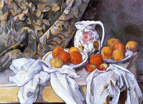 Paul Cezanne Still Life with Curtain and Flowered Pitcher - Hand Painted Oil Painting