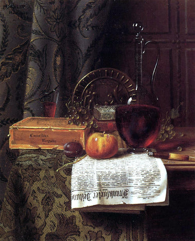 William Michael Harnett Still Life with Decanter and Frankfurter Zeitung - Hand Painted Oil Painting