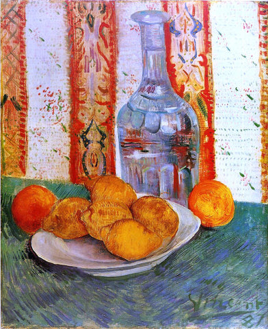 Vincent Van Gogh Still Life with Decanter and Lemons on a Plate - Hand Painted Oil Painting