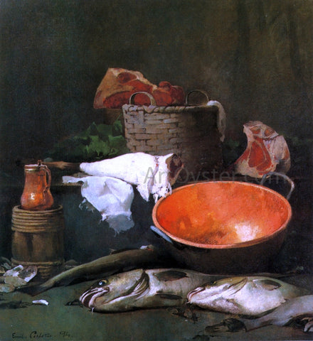 Emil Carlsen Still Life with Fish and Copper Bowl - Hand Painted Oil Painting