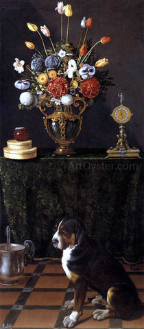 Juan Van der Hamen Still Life with Flowers and a Dog - Hand Painted Oil Painting