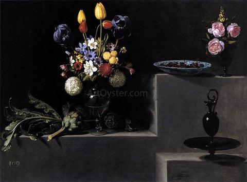 Juan Van der Hamen Still Life with Flowers, Artichokes, Cherries and Glassware - Hand Painted Oil Painting