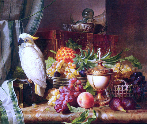 Josef Schuster Still Life with Fruit and a Cockatoo - Hand Painted Oil Painting