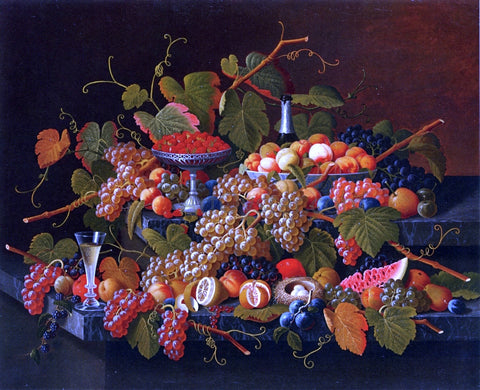 Severin Roesen Still Life with Fruit and Champagne - Hand Painted Oil Painting