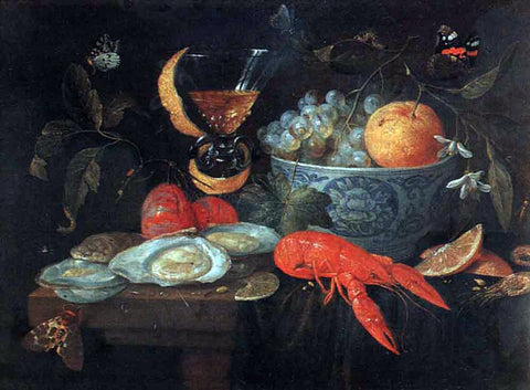 Jan Van Kessel Still Life with Fruit and Shellfish - Hand Painted Oil Painting