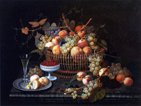 Severin Roesen Still Life with Fruit and Vase - Hand Painted Oil Painting