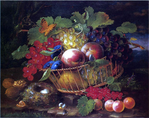 George Forster Still Life with Fruit, Butterflies and Bird's Nest - Hand Painted Oil Painting