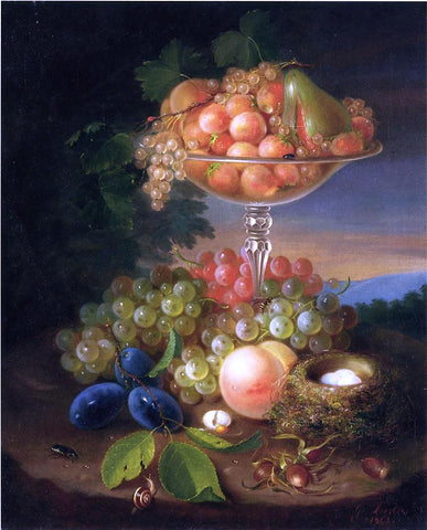 George Forster Still Life with Fruit, Nest of Eggs and Insects - Hand Painted Oil Painting