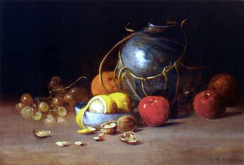Charles Ethan Porter Still Life with Ginger Jar, Fruit and Nuts - Hand Painted Oil Painting