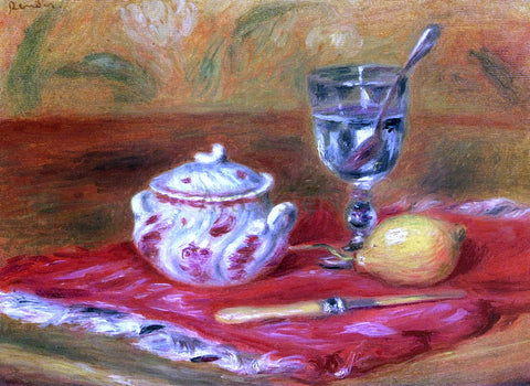 Pierre Auguste Renoir Still LIfe with Glass and Lemon - Hand Painted Oil Painting