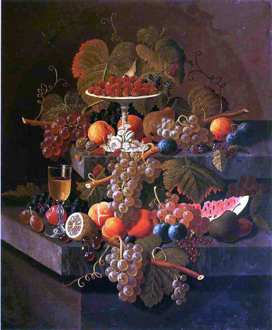 Severin Roesen Still Life with Grapes and Fruit - Hand Painted Oil Painting