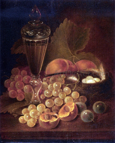 George Forster Still Life with Grapes, Peaches, Decanter and Nest of Eggs - Hand Painted Oil Painting