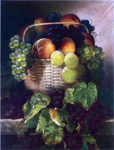 William Mason Brown Still Life with Grapes. Plums and Peaches in a Basket - Hand Painted Oil Painting