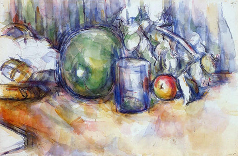 Paul Cezanne Still Life with Green Melon - Hand Painted Oil Painting