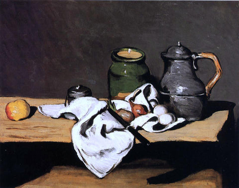 Paul Cezanne Still Life with Green Pot and Pewter Jug - Hand Painted Oil Painting