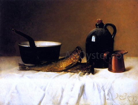 Milne Ramsey Still Life with Herring, Pot, Jug and Measure - Hand Painted Oil Painting