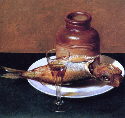 Raphaelle Peale Still Life with Jug and Fish - Hand Painted Oil Painting