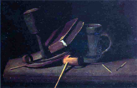 John Frederick Peto Still Life with Lamp, Pipe, Matches, Book and Mug - Hand Painted Oil Painting