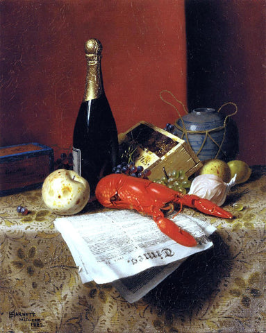 William Michael Harnett Still Life with Lobster, Fruit, Champagne and Newspaper - Hand Painted Oil Painting