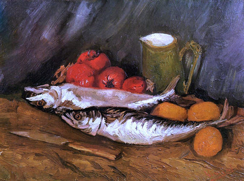 Vincent Van Gogh Still Life with Mackerels, Lemons and Tomatoes - Hand Painted Oil Painting