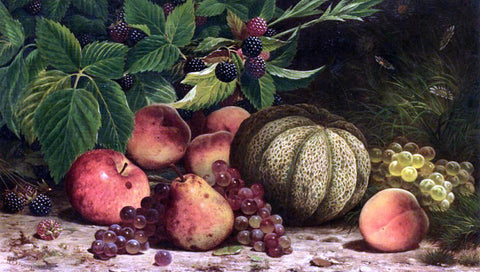 William Mason Brown Still Life with Melon, Grapes, Peaches, Pears and Black Raspberries - Hand Painted Oil Painting