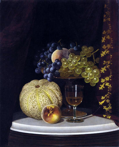 William Mason Brown Still Life with Melon, Peach, Fruit-Filled Compote and Glass of Wine on a Marble Table Top - Hand Painted Oil Painting