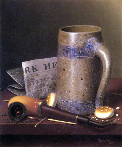 William Michael Harnett Still Life with Mug, Pipe and New York Herald - Hand Painted Oil Painting