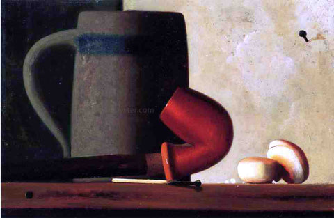 John Frederick Peto Still Life with Mug, Pipe and Oyster Crackers - Hand Painted Oil Painting
