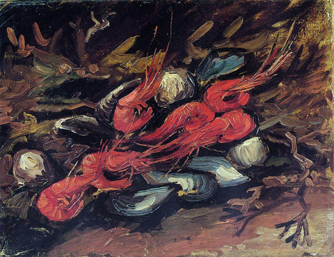 Vincent Van Gogh Still Life with Mussels and Shrimp - Hand Painted Oil Painting