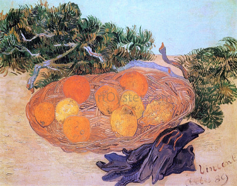 Vincent Van Gogh Still Life with Oranges and Lemons with Blue Gloves - Hand Painted Oil Painting