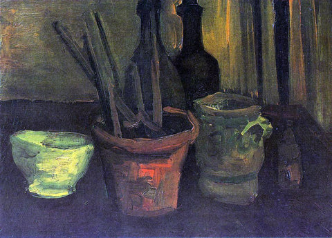 Vincent Van Gogh Still Life with Paintbrushes in a Pot - Hand Painted Oil Painting