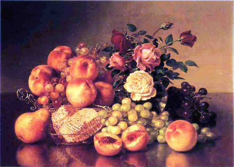 Robert Spear Dunning Still Life with Peaches - Hand Painted Oil Painting