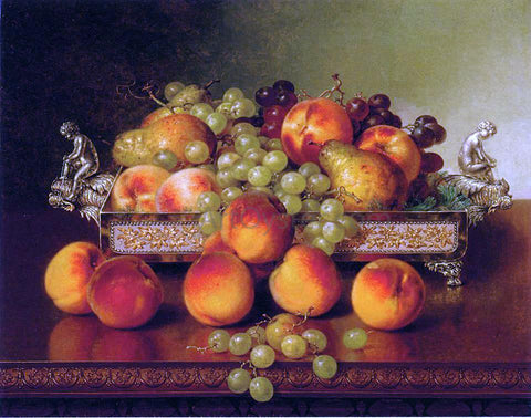 Robert Spear Dunning Still Life with Peaches and a Silver Dish - Hand Painted Oil Painting