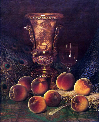 William Mason Brown Still Life with Peaches and Marble Vase - Hand Painted Oil Painting