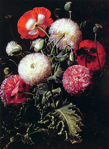 Johan Laurentz Jensen Still Life with Pink, Red and White Poppies - Hand Painted Oil Painting