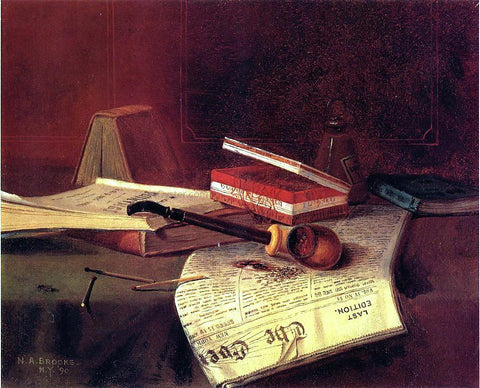 Nicholas Alden Brooks Still Life with Pipe, Tobacco and Matches - Hand Painted Oil Painting