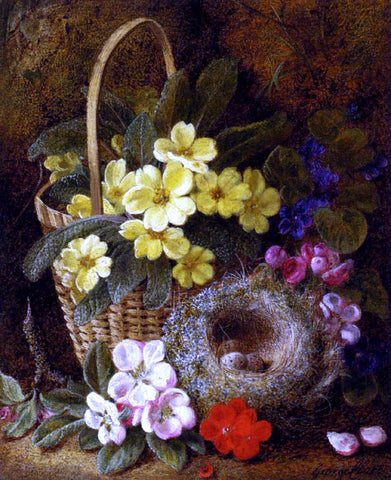 George Clare Still Life with Primroses, Violas, cherry Blossom and Geraniums and a Thrush's Nest - Hand Painted Oil Painting