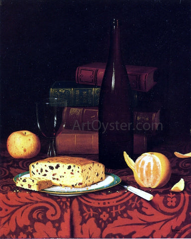 William Michael Harnett Still Life with Raisin Cake, Fruit and Wine - Hand Painted Oil Painting