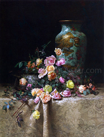 Milne Ramsey Still Life with Roses (also known as Roses and an Oriental Vase on a Brocade Tablecloth) - Hand Painted Oil Painting