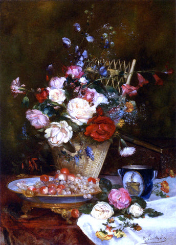 Eugene Henri Cauchois Still Life With Roses, Cherries And Grapes - Hand Painted Oil Painting