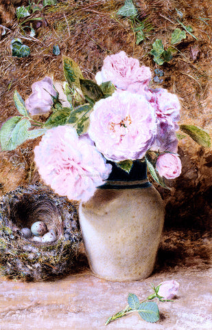 William Henry Hunt Still Life With Roses In A Vase And A Birds Nest - Hand Painted Oil Painting