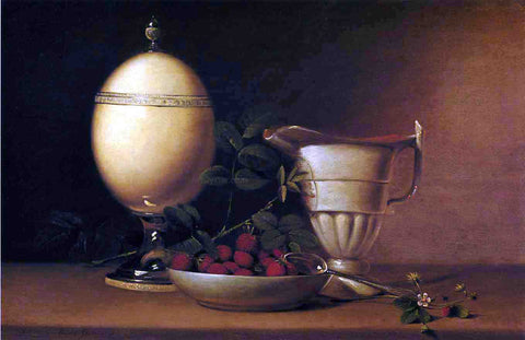 Raphaelle Peale Still Life with Strawberries and Ostrich Egg Cup - Hand Painted Oil Painting