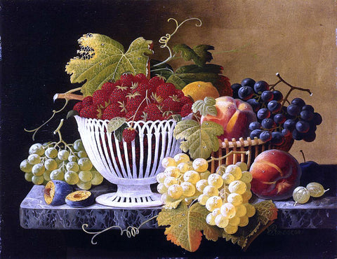 Severin Roesen Still Life with Strawberry Basket - Hand Painted Oil Painting