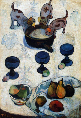 Paul Gauguin Still Life with Three Puppies - Hand Painted Oil Painting