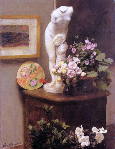 Henri Fantin-Latour Still Life with Torso and Flowers - Hand Painted Oil Painting