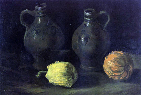 Vincent Van Gogh Still Life with Two Jars and Two Pumpkins - Hand Painted Oil Painting