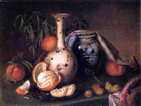 Joseph Biays Ord Still Life with Vase, Fruit and Nuts - Hand Painted Oil Painting