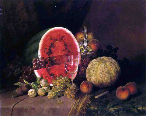 William Mason Brown Still Life with Watermelon, Grapes, Peaches, Plums and Cantaloupe - Hand Painted Oil Painting