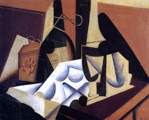 Juan Gris Still Life with White Tablecloth - Hand Painted Oil Painting