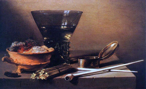 Pieter Claesz Still Life with Wine and Smoking Implements - Hand Painted Oil Painting